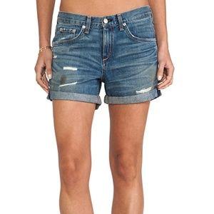 Rag & Bone ripped boyfriend denim shorts